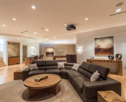 Longlook Media Room with 10' projector screen and surround sounds